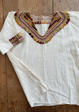 Vintage Embroidered Cotton Gauze Top