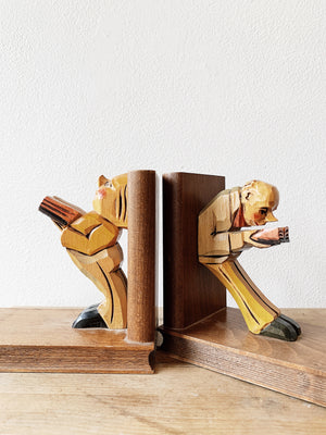 Vintage Carved Wood Bookends