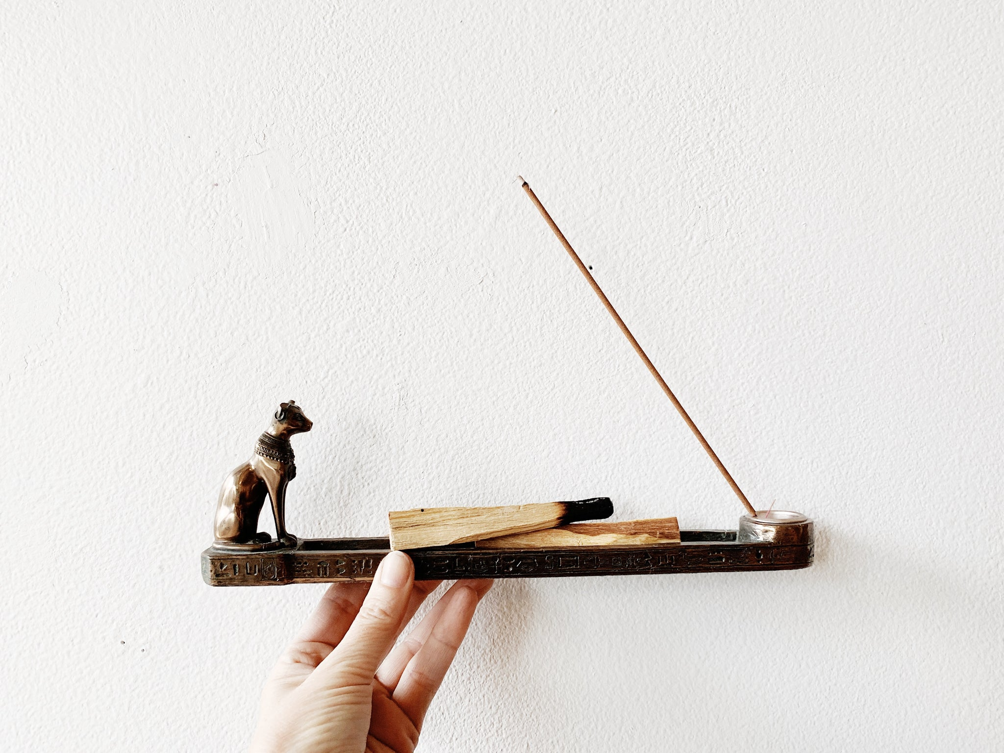 Double Incense Holder with Egyptian Cat