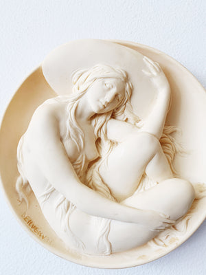 Sculpted Alabaster 3D Plate, 'Erato'