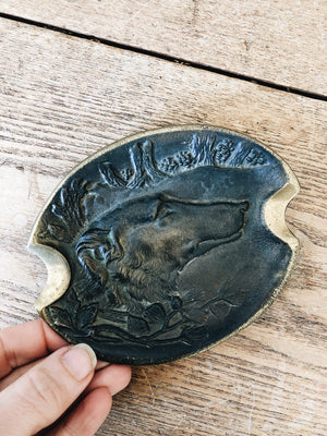Antique Bronze Wolfhound Ashtray