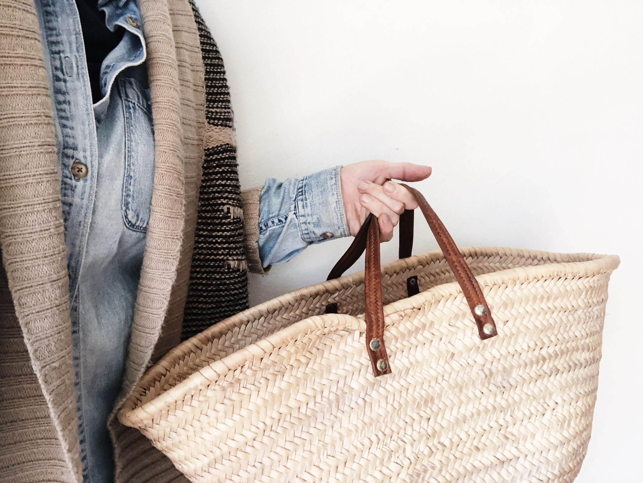 Seagrass Market Tote with Leather