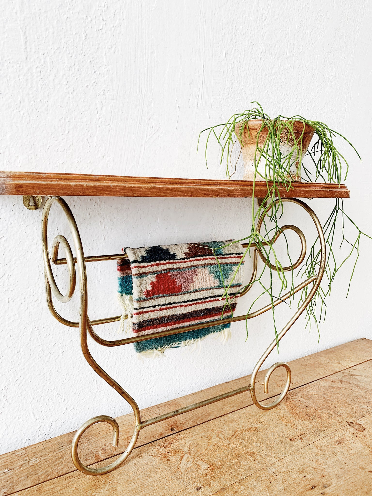 Vintage Wood and Brass Wall Shelf