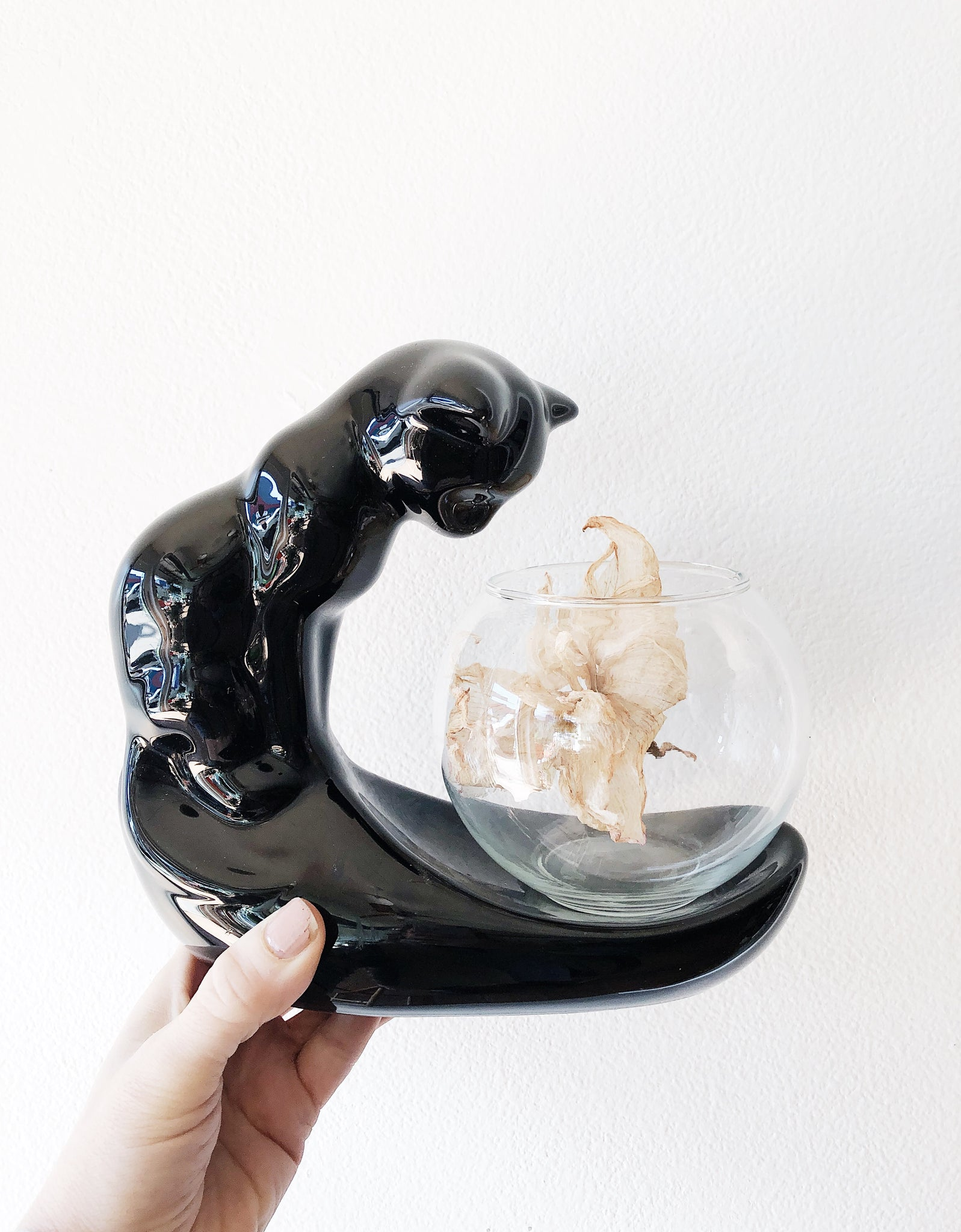 Vintage Ceramic Cat with Fishbowl Terrarium