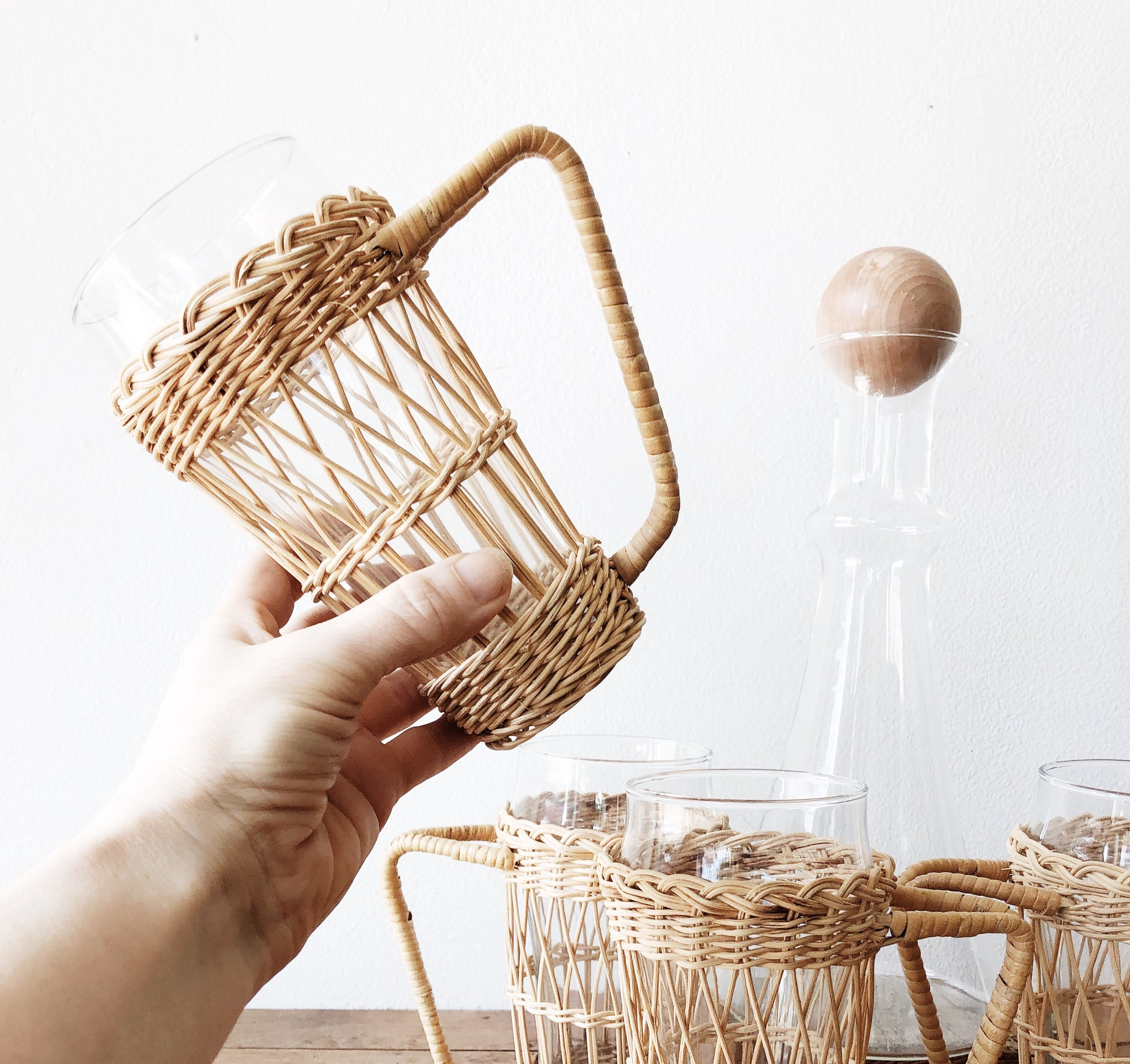Vintage Rattan Wrapped Pilsner Glasses