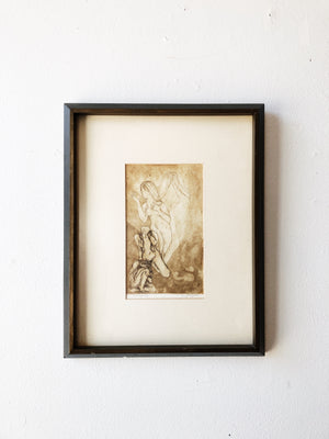 Vintage Framed Engraving 'Emergence'