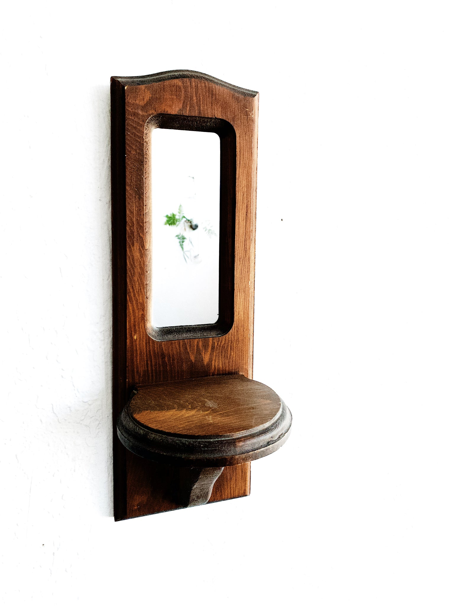 Vintage Mirrored Wood Wall Shelf