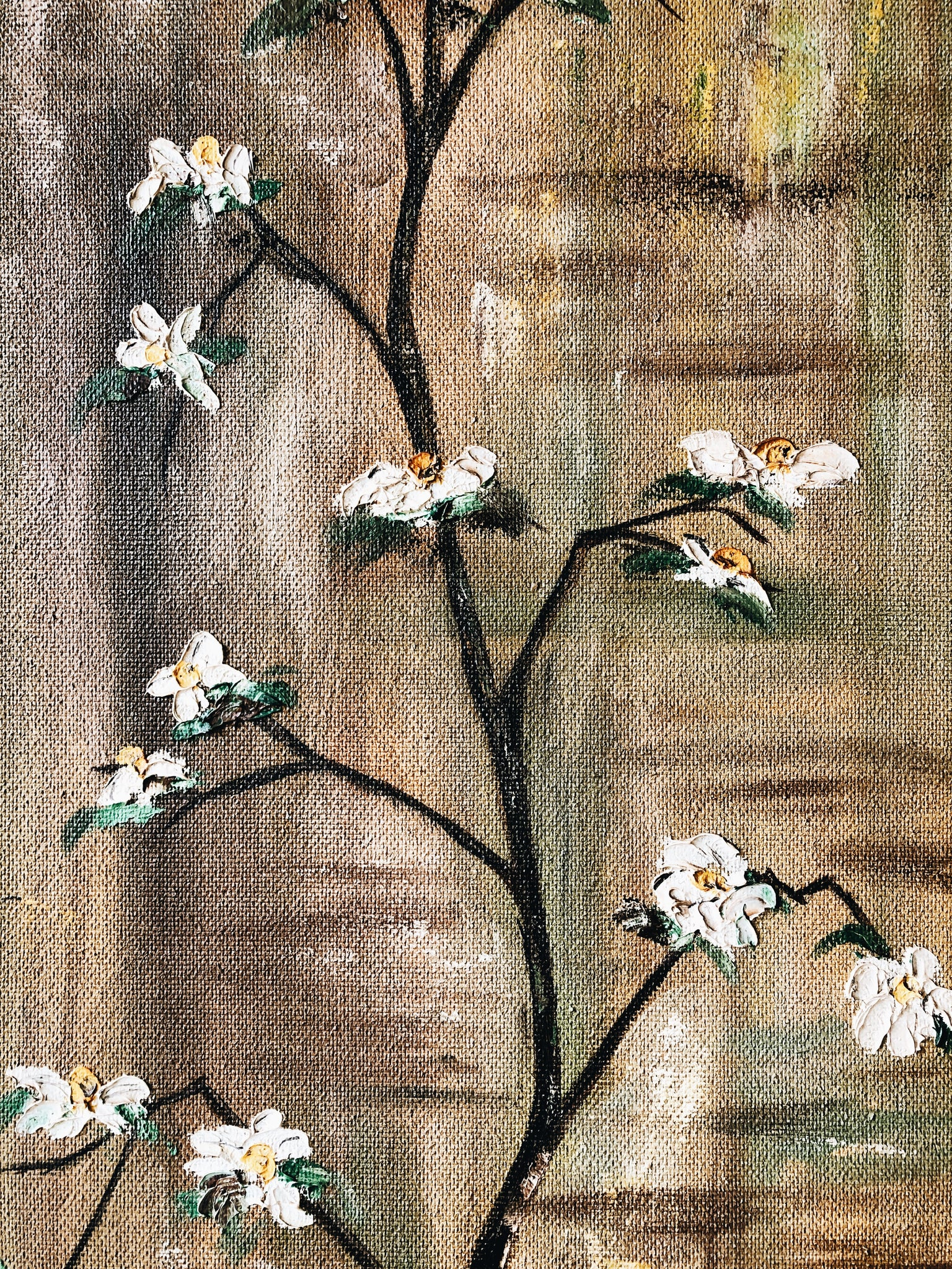 Tall Vintage 70s Dogwood Painting
