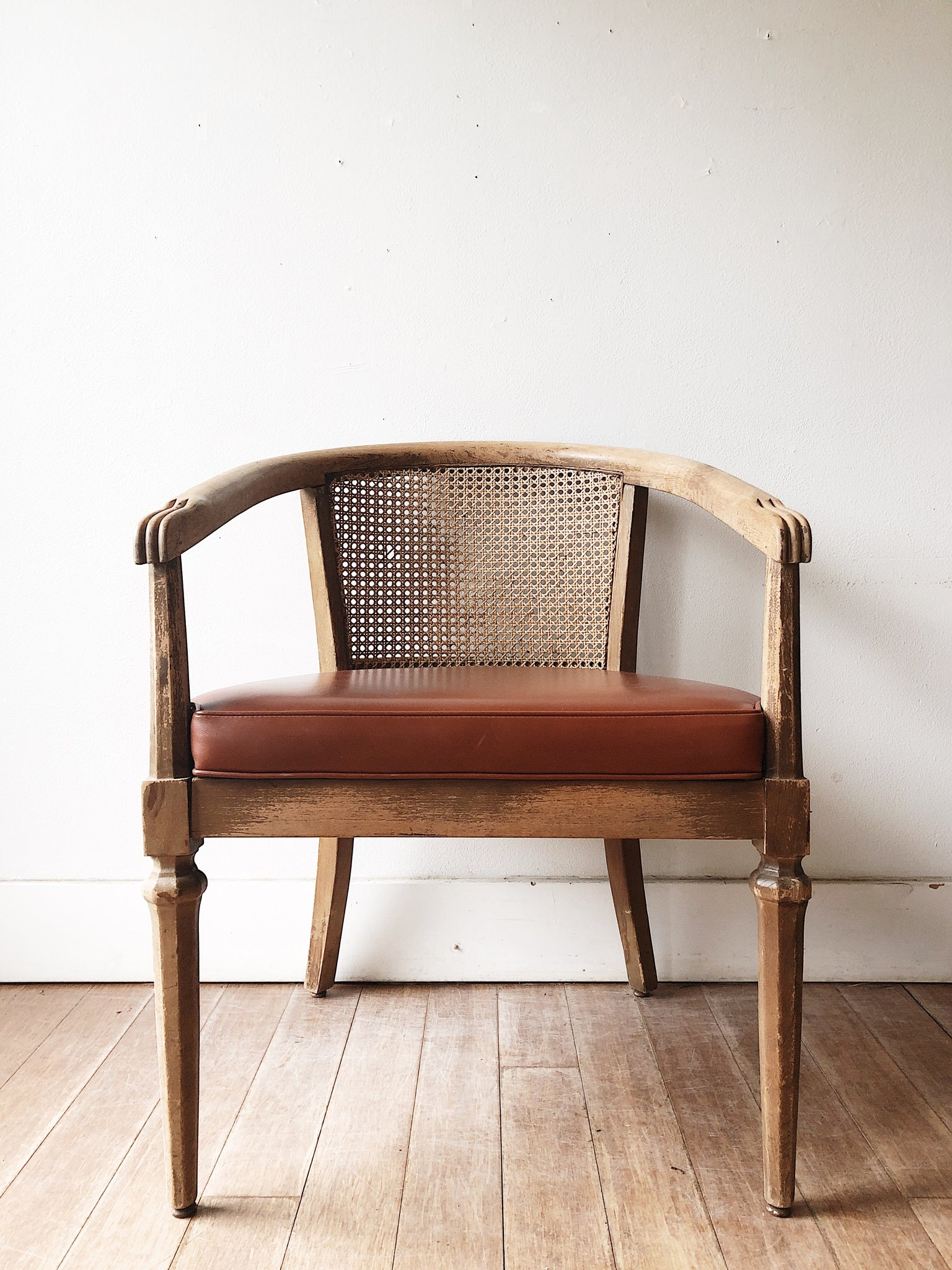 Vintage Cane Barrel Back Chair