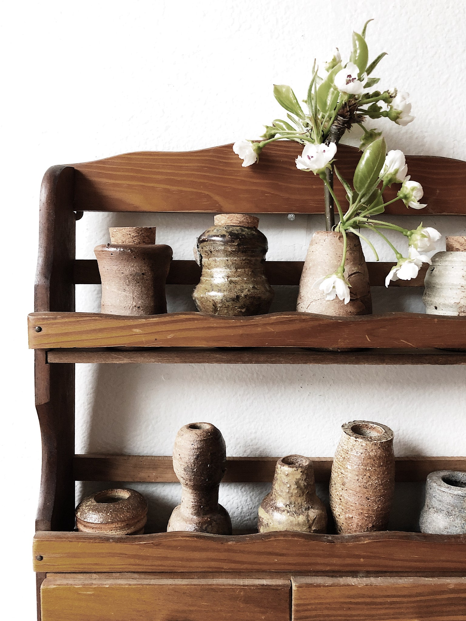 Vintage Wooden Spice Rack and Clay Vessels