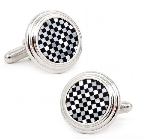 Onyx and Mother of Pearl Checkerstep Cufflinks
