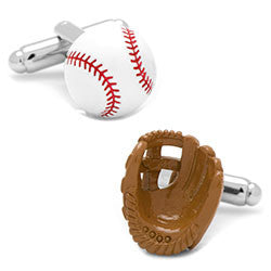 Enamel Baseball & Glove Cufflinks