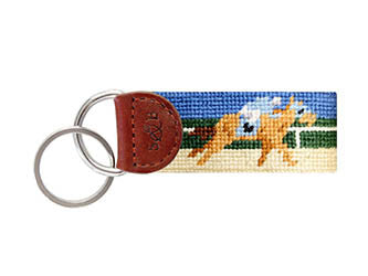 Derby Needlepoint Key Fob