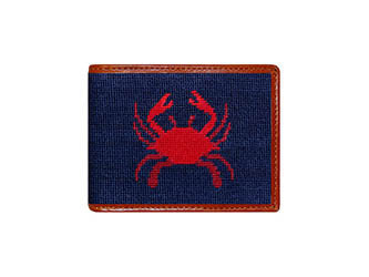 Crab Needlepoint Wallet
