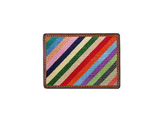 Parsons Stripe Needlepoint Credit Card Wallet