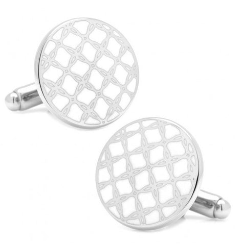 Silver and White Filigree Cufflinks