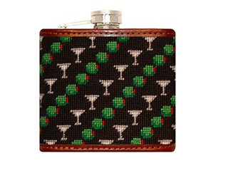 Martini & Olive Needlepoint Flask