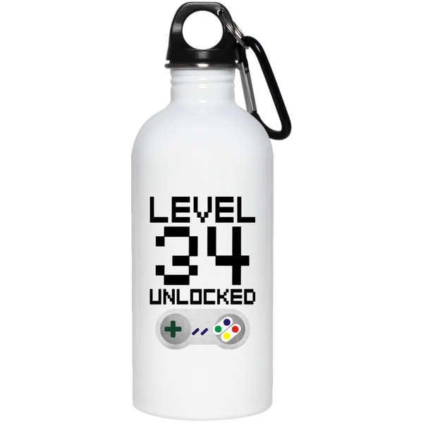 34th Birthday Level Unlocked Stainless Steel Water Bottle