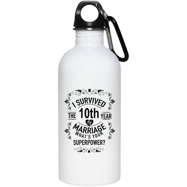 10th Anniversary Wedding Marriage Stainless Steel Water Bottle