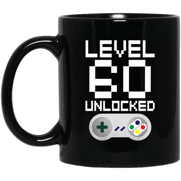 60th Birthday Level Unlocked Black Coffee Mug