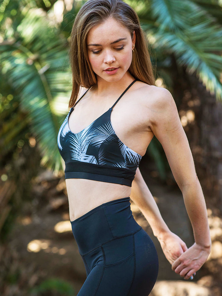 Rio Top - Black / Palm Print