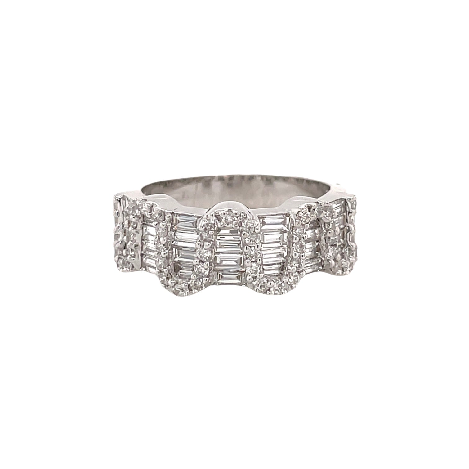 Baguette & Round Diamond Swirl Ring