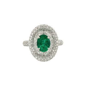 Oval Emerald & Baguette Ring