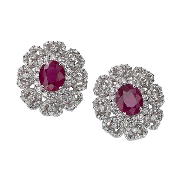 Ruby & Diamond Lace Earring