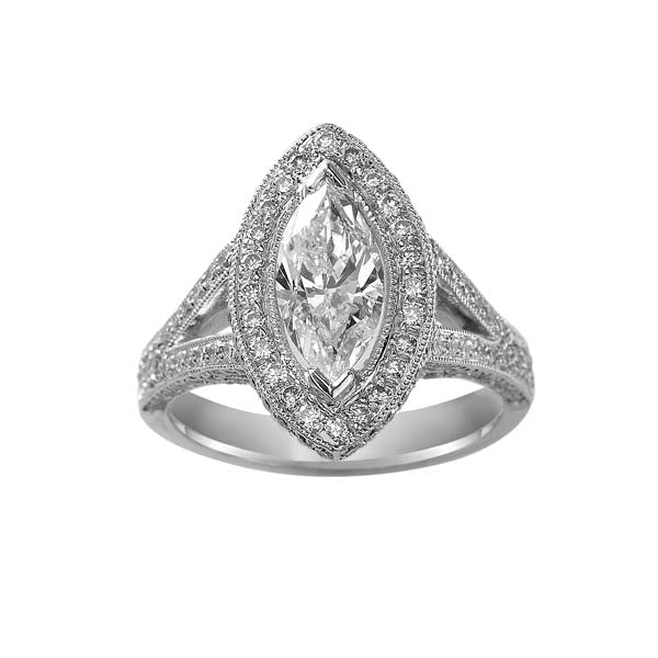 Marquise Cut Milgrain Halo Split Band Engagement Ring