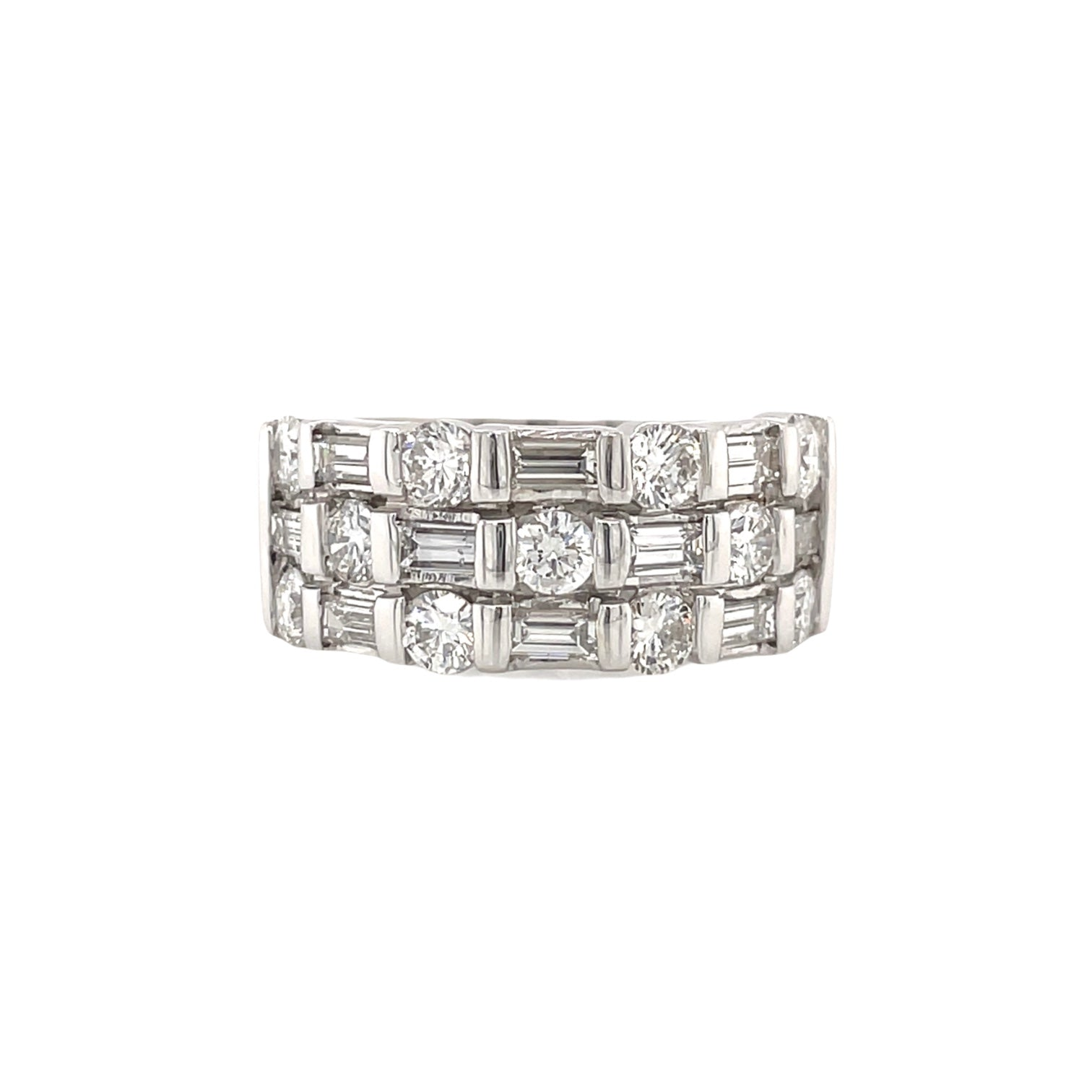 3 Row Alternating Baguette & Round Diamond Ring