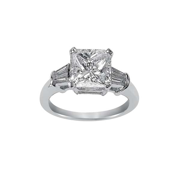 Radiant Cut Baguette Side Stone Engagement Ring
