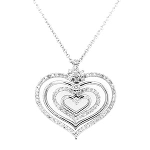 Four Row Diamond Heart Pendant