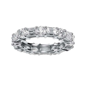 Round & Emerald Cut Eternity Band