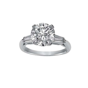 Round Cut Baguette Side Stone Engagement Ring