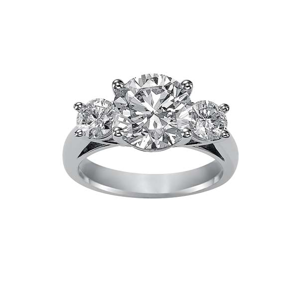 Round Cut 3 Stone Engagement Ring