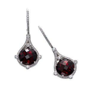 Garnet & Diamond Drop Earring