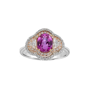 Pink Sapphire Halo Ring