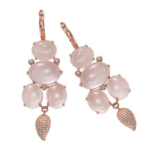 Pink Quartz and Diamond Earring