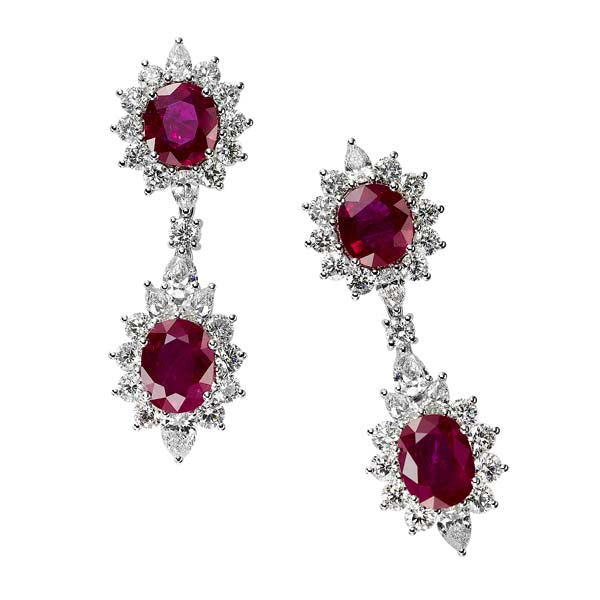 Ruby & Diamond Drop Earring