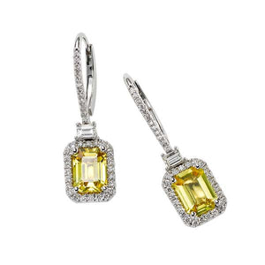 Square Yellow Sapphire Drop Earring