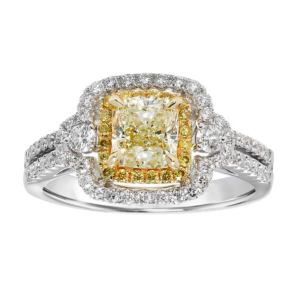 Fancy Yellow Cushion Cut Halo Split Band Engagement Ring