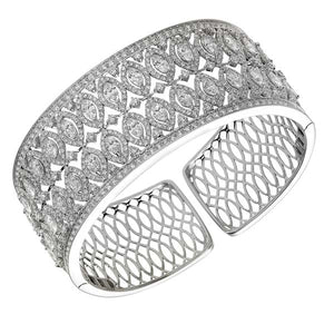Wide Marquise Shape Diamond Bangle