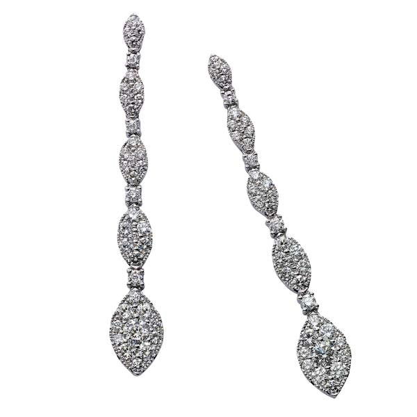 Diamond Marquise Shape Line Earring