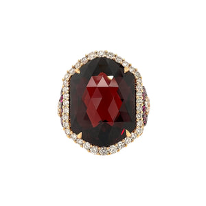 Large Garnet & Diamond Cocktail Ring