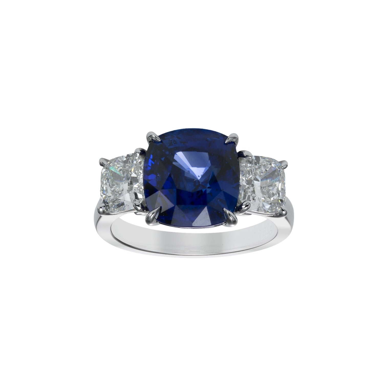 Cushion Sapphire & Diamond Three Stone Ring