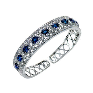 Oval Cut Sapphire & Diamond Bangle