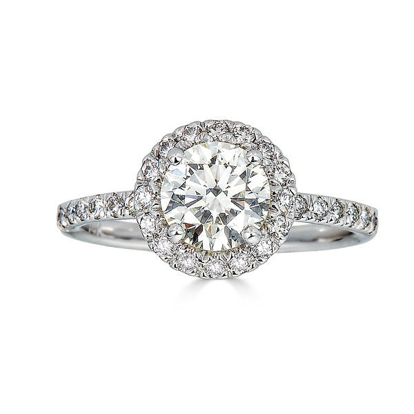 Round Cut Halo Engagement Ring
