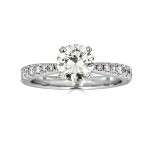 Round Cut Graduating Pave Engagement Ring