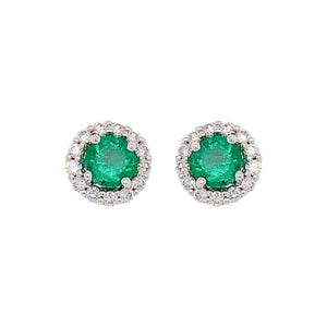 Round Emerald & Diamond Halo Stud