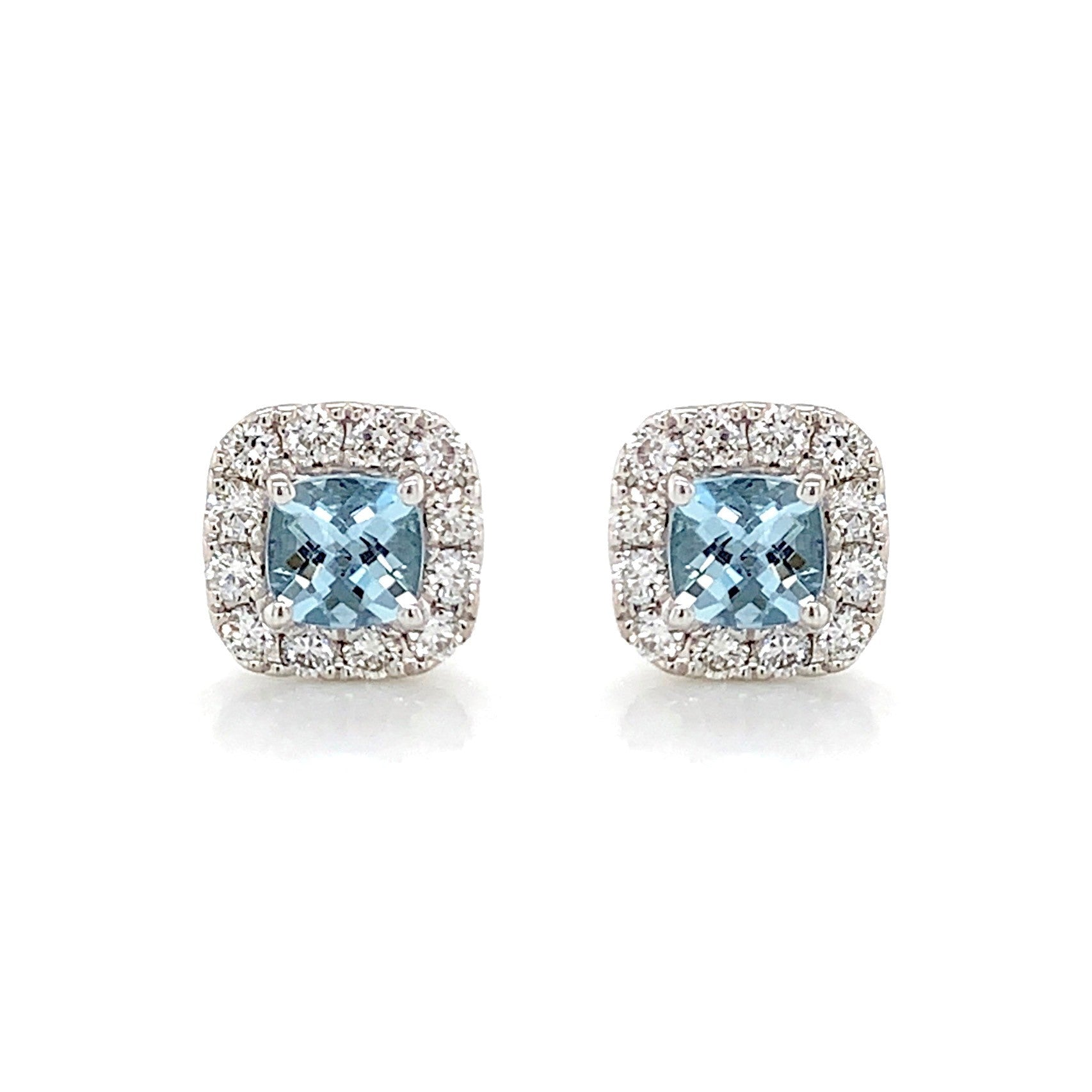 Aquamarine & Diamond Studs
